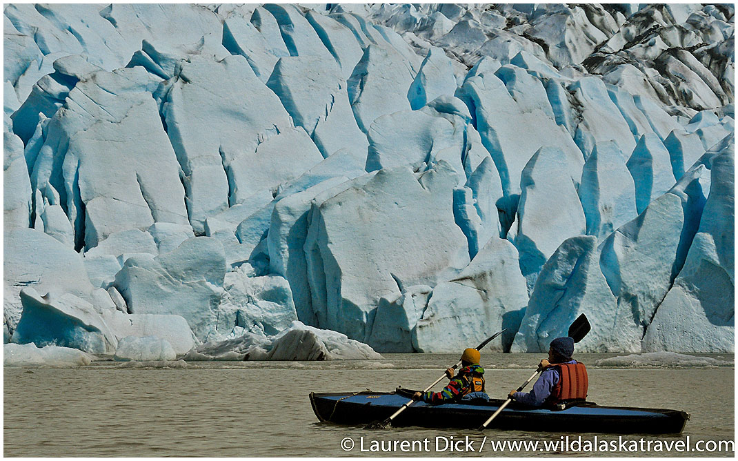 Florian and Greta Wade Sea Kayaking Mendenhall Glacier Juneau -- Photo (c) Laurent Dick - Wild Alaska Travel